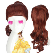 Kissmywig Princess Belle Cosplay Wig of Beauty and the Beast Movie Long Curly Brown