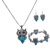 YAZILIND Ethnic Silver Plated Vintage Turquoise Owl Pendant Necklace Drop Earrings Bracelet for Women Jewellery Sets