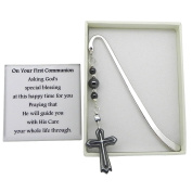 Boys First Holy Communion Bookmark with Hematite Cross