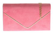 Girly HandBags Faux Suede Clutch Bag Envelope Metallic Frame Plain Design Evening -- Coral