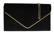 Girly HandBags Faux Suede Clutch Bag Envelope Metallic Frame Plain Design Evening -- Black