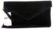 Italian Suede Leather Clutch, Wrist, Shoulder or Crossbody Bag. Includes a Protective Dust Bag.