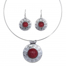 YAZILIND Tibetan Silver Embossed Round Red Turquoise Pendant Statement Necklace Earrings Jewellery Set