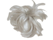 Hair Extension Light White Grey Scrunchie Up Do Down Do Spiky Twister On Elastic Synthetic