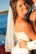Bridal Wedding Veil White 1 Tier Short Shoulder Length Satin Ribbon Edge