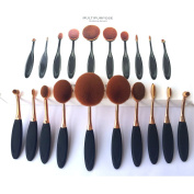 TDream New 10Pcs Soft Elite Oval Toothbrush Makeup Brush Set Foundation Brushes Cream Contour Powder Blush Concealer Brush Makeup Cosmetics Tool Set