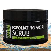Exfoliating Facial Scrub for Men By Derma-nu - Unclogs Pores, Fights Acne and Prevents Ingrown Hairs - Natural & Certified Organic Ingredients - 120ml