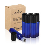 Fiery Youth Blue Glass Roller Bottles with Stainless Steel Roller Balls,Useful for Aromatherapy PerfumesAand Lip Balms, Solid Blue Glass, 6 Bottle Set,10ml,Essential Oils Glass Roll on Bottle