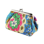 Micom Roomy Vintage Cute Flower Embroidered Kiss-lock Coin Purse Wallet for Women Vintage Clasp Clutch Cosmetic Bags