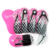 Spove Shoe Polka Dot Flip Flop Design Manicure Kit Shape Personal Care Manicure Set pack of 6 Hotpink