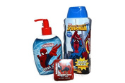 Spiderman Handsoap, Body Wash, Magic Towel Bath Bundle- 3 Items