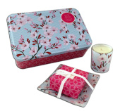 Muse Cherry Blossom Three Piece Soap, Dish and Candle Gift Set