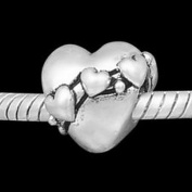 Beads Hut - HEART OF HEARTS European Charm Spacer Bead Valentine Love Heart Banner Charms