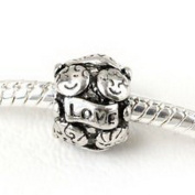Beads Hut - LOVE COUPLE European Charm Spacer Bead for Bracelets Newlywed Engagement 10 mm