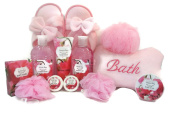 Mother's Day 2016 Bath and Relaxation Bundle of 13 items Bath fizzers,Body Scrub, Body Lotion, (Sweet Pea) Bath Soak Bubble Bath, Shower Gel, Loofa's, bath pillow and slippers