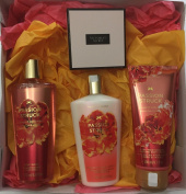 Victoria Secret Passion Struck Gift Set - Bundle - 4 Items. Body Wash, Lotion, Hand & Body Cream and Love Me Necklace.
