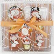 Opaline Savillian Neroli Bath Spa Gift Set - Shower Gel, Body Lotion, Bubble Bath, Bath Salt and 1 Cloth in a White Metal Wire Basket