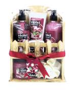 Opaline African Violet Bath Spa Gift Set - Shower Gel, Body Lotion, Body Scrub, Bubble Bath, Eva Body Puff in a Wooden Shelf
