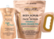 Vitamin C Scrub. Dried Orange Peel. Dead Sea Salt, Honey and Jojoba Oil. 300ml +++ BODY BUTTER 6 0Z
