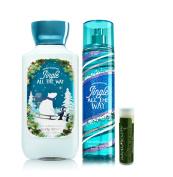Bath & Body Works Jingle All The Way 8 fl.oz/236 mL Fine Fragrance Mist & 8 fl.oz/236 mL Body Lotion With a Jarosa Bee Organic Peppermint Lip Balm