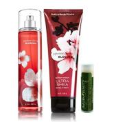 Bath & Body Works Japanese Cherry Blossom 8 fl.oz/236 mL Fine Fragrance Mist & 8 oz/226 g Ultra Shea Body Cream With a Jarosa Bee Organic Peppermint Lip Balm