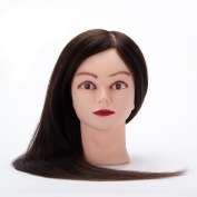 SR 60cm 70% Real Human Hair and 30% Synthetic Long Hair Training Head Model for Practise with Clamp