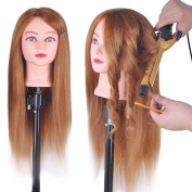 SR 60cm 30% Real Human Hair Hairdressing Cosmetology Mannequin Manikin Training Head with Clamp