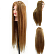 SR 70cm Synthetic Long Hair Hairdressing Cosmetology Mannequin Manikin Training Head with Clamp