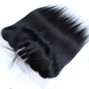 Wigshow Silky Straigt 3 Part Lace Frontal Closure 13x 4 With Baby Hair Bleached Knots Natural Black Brazilian Virgin Human Hair for Black Women 25cm