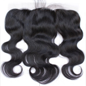 Wigshow Body Wave Free Part Lace Frontal Closure 13x 4 With Baby Hair Bleached Knots Natural Black Brazilian Virgin Human Hair for Black Women 25cm