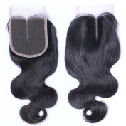 Wigshow Body Wave Middle Part Lace Closure With Baby Hair Bleached Knots Natural Black Brazilian Virgin Human Hair for Black Women 25cm
