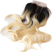 Rossy & Nancy Top Quality Virgin Brazilian Hair Lace Closure 1bt613 Black and Blonde Colour Closure for White Women