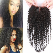 Sunwell 6A Virgin Human Hair Lace Top Closure Kinky Curly Bleached Knots with Baby Hair Middle Part 10cm x 10cm Lace Closure 130% Density, Natural Colour, 20cm