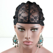 Rossy & Nancy Best Black Colour Lace Cap Liner for Long Hair Big Head to Make Wigs