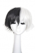 Yuehong Short Black With White Synthetic Anime Cosplay Wig With Free Net