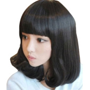 Rise World Wig Women's Medium Short Black Cosplay Heat Friendly Wig Party Glamour Full Har Wig