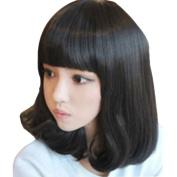 Rise World Wig Women's Medium Short Black Cosplay Heat Friendly Wig Party Glamour Full Har Wig