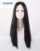ATOZWIG@Sexy Women New Cosplay Party Long Straight NO Bangs Natural Black Hair Cosplay Wigs Costume Party Fancy Wigs