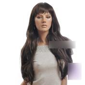 Coolsky 70cm Heat Resistant Long Dark Brown Wig Party wig Women Cosplay wig Natural Hair Line