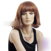 Coolsky 37cm Rinka Haircut Neat bang Stright Short Wig Brown Women Wig Heat Resistant