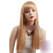 Coolsky 60cm Long Blonde Soft Wig Lady Soft Wig Korean Style Heat Resistant Women for Wig