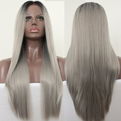 PlatinumHair black and grey ombre straight wigs synthetic lace front wigs for black women 60cm
