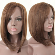 PlatinumHair short bob straight wigs synthetic lace front wigs glueless for black women 36cm
