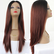 PlatinumHair ombre colour straight wigs synthetic lace front wigs glueless for black women 60cm