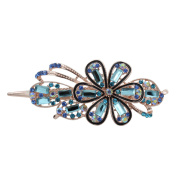 Totoroforet Forget Me Not Forever Crystal Glass & Rhinestones Hairclip/ Barrette/ Hair Claw Large Size--Sky Blue
