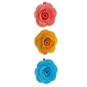 Lux Accessories Fabric Flower Clips Peach