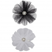 Lux Accessories Chiffon Flower Hair Clips