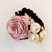 Lovef 1pc New Fabric Camellia Flower Pearl Design Fashion Ponytail Hair Ties Hair Ring Rhinestone Hair Rubber Band