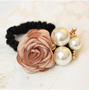 Lovef 1pc New Fabric Camellia Flower Pearl Design Fashion Ponytail Hair Ties Hair Ring Rhinestone Hair Rubber Band