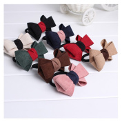 Lovef 8pcs/Pack Velvet Double Bow Cute Elastic Hair Band Hair Ring Colourful Ponytail Holder Bow Tie